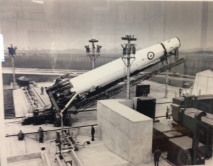 One of 77's Thor missiles being raised into position at RAF Feltwell, 1960
